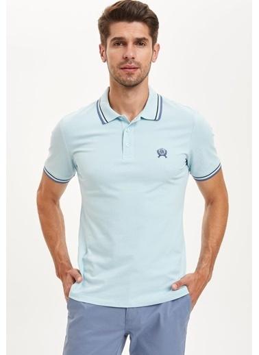 DeFacto Slim Fit Polo Yaka BasicKısa Kollu Mavi Tişört Mavi